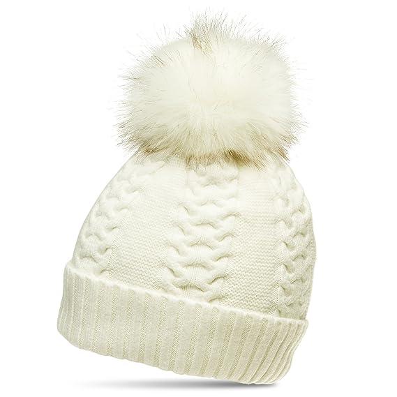 691b277a5b44f Caspar MU160 Bonnet en Tricot doublé pour Femme - Bonnet avec Torsades et Gros  Pompon en Fausse Fourrure, Couleur:Blanc (Off-White);Taille:One Size: ...