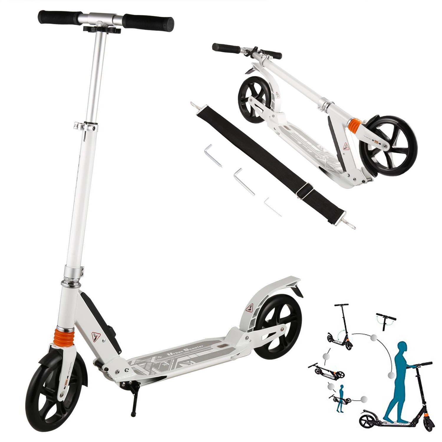 Etuoji Aluminum Portable Folding Kick Scooter with Dual Suspension, 2 Big Wheels 3 Levels Adjustable Height Commuter Street Push Scooter for City Urban Riders US STOCK