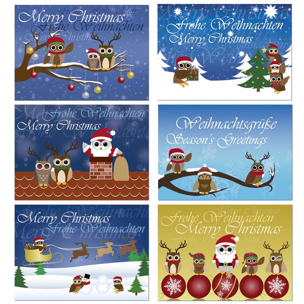 12 Postkarten - Mix Eulen Weihnachten Weihnachtskarten 6 ...