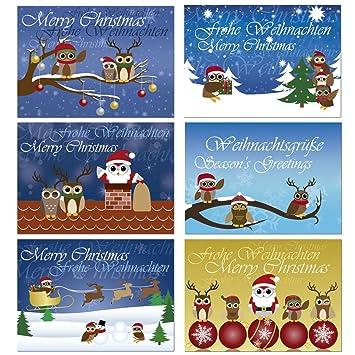 Weihnachtskarten Motive.12 Postkarten Mix Eulen Weihnachten Weihnachtskarten 6 Verschiedene Motive Je 2 Karten 1907 Mix