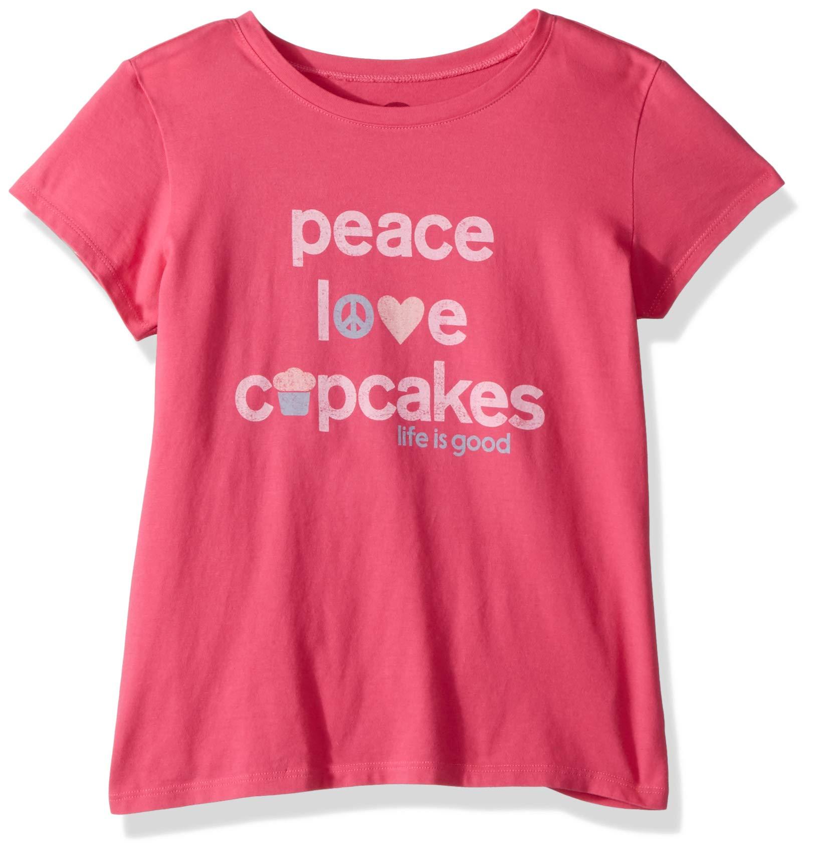Life is Good Girls Crusher tee Peace Love Cupcakes, Fiesta Pink, Large