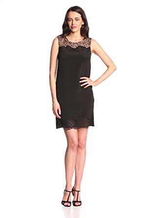 Elie Tahari Women's Suellan CDC Lace Detail Sleeveless Shift Dress, Black, 2