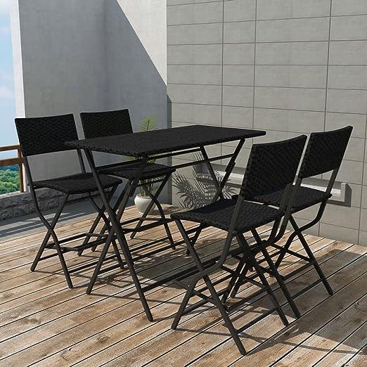 tiauant Mobiliario Mobiliario de Exterior Conjuntos de mobiliario de Exterior Set de Mesa y sillas Altas de Jardin 5 Piezas Poli Ratan Negro Conjunto de Acero inoxidableAnchura del Asiento: 42 cm: Amazon.es:
