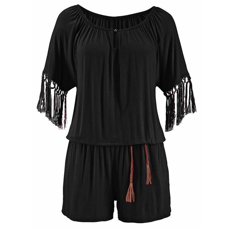 Bodysuit Women Tassel Playsuits Sleeves Jumpsuits Beach Rompers WS7473T Black S