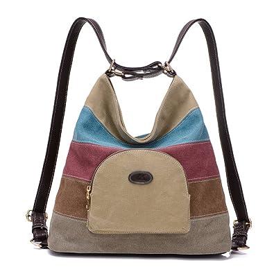 1dbb48e80feb9 Defeng Unisex Canvas Schultertasche Rucksack Modische Bunte Handtasche  Damenhandtasche Herrentasche (Bunte-B018)