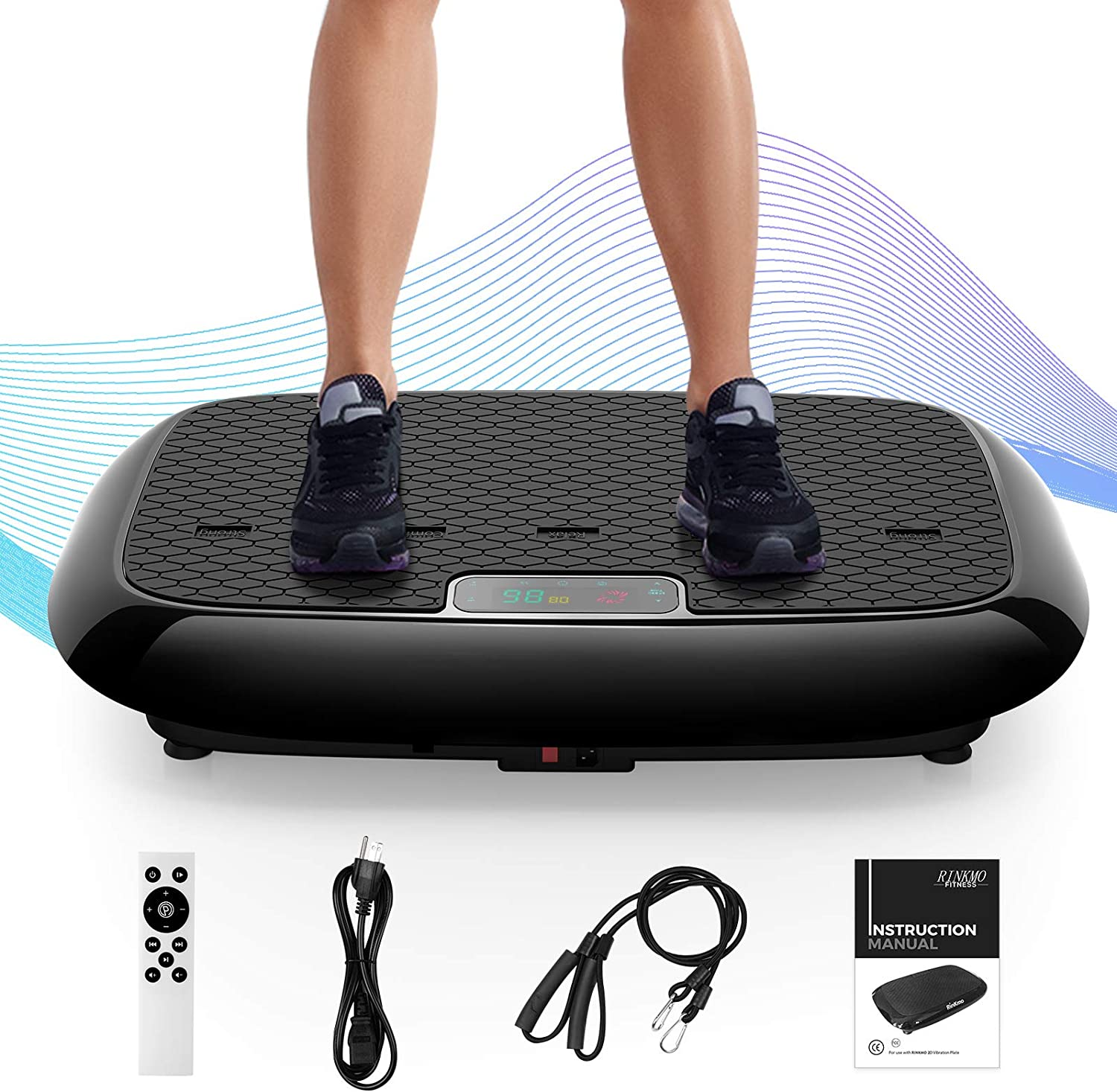 RINKMO Vibration Plate Exercise Machines with Resistance Bands, Whole Body Workout Vibrating Platform with Bluetooth Speaker for Home Fitness Training Equipment and Weight Loss Black