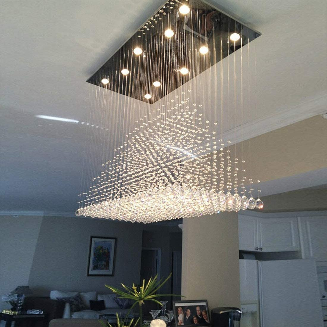 Moooni Modern Rectangular Raindrop Crystal Ceiling Lighting Fixture Pendant Chandelier LED Light for Dining Rooms Rectangle Chandeliers L40 x W20 x H36