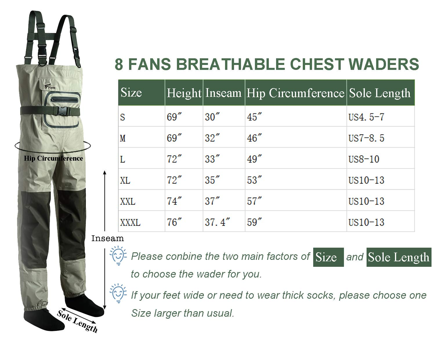 8 Fans Men s Fishing Chest Waders – 3-Ply Durable Breathable and Waterproof with Neoprene Stocking Foot Insulated Chest Waders, for Duck Hunting, Fly Fishing, A Mesh Storage Bag Included