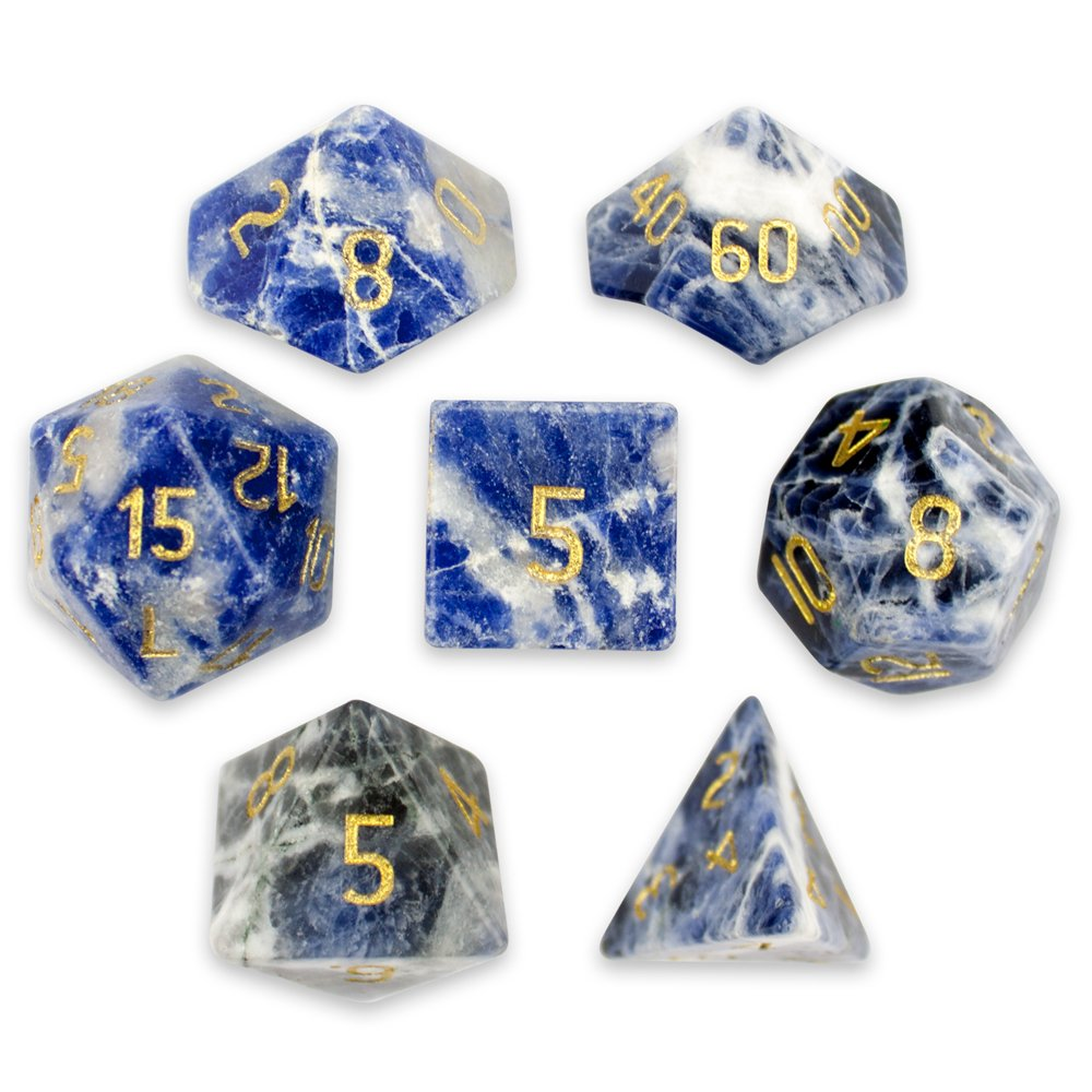 Wiz Dice Set of 7 Handmade Stone 16mm Polyhedral Dice with Velvet Pouch (Sodalite)