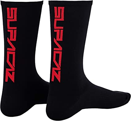 S//M or L//XL Supacaz SupaSox STRAIGHT UP Tall Cycling Socks Black Gold One Pair