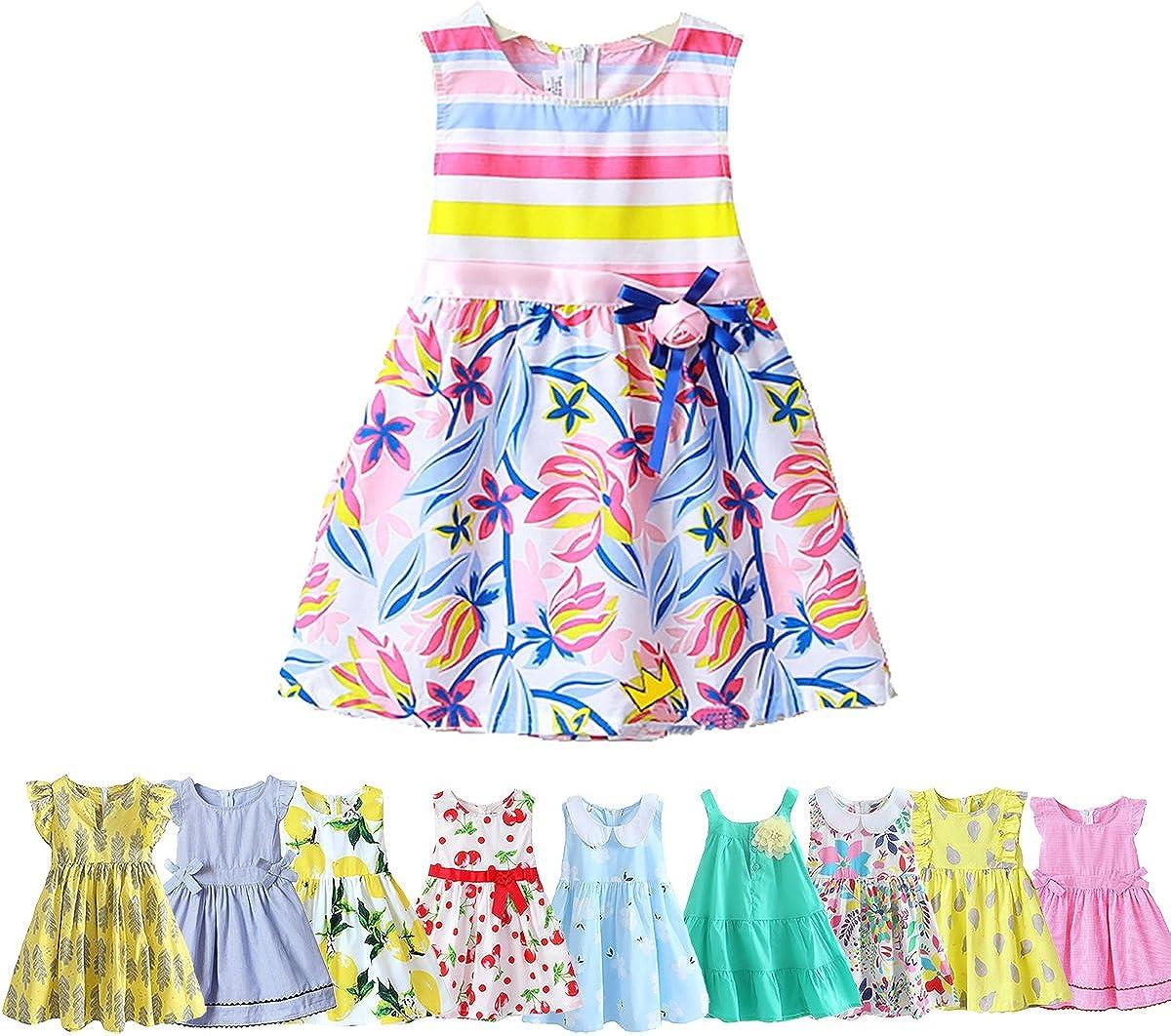 Abalacoco Girl Cotton Breathable Mesh Sleeveless Summer Tutu Daily Wear Princess Dress