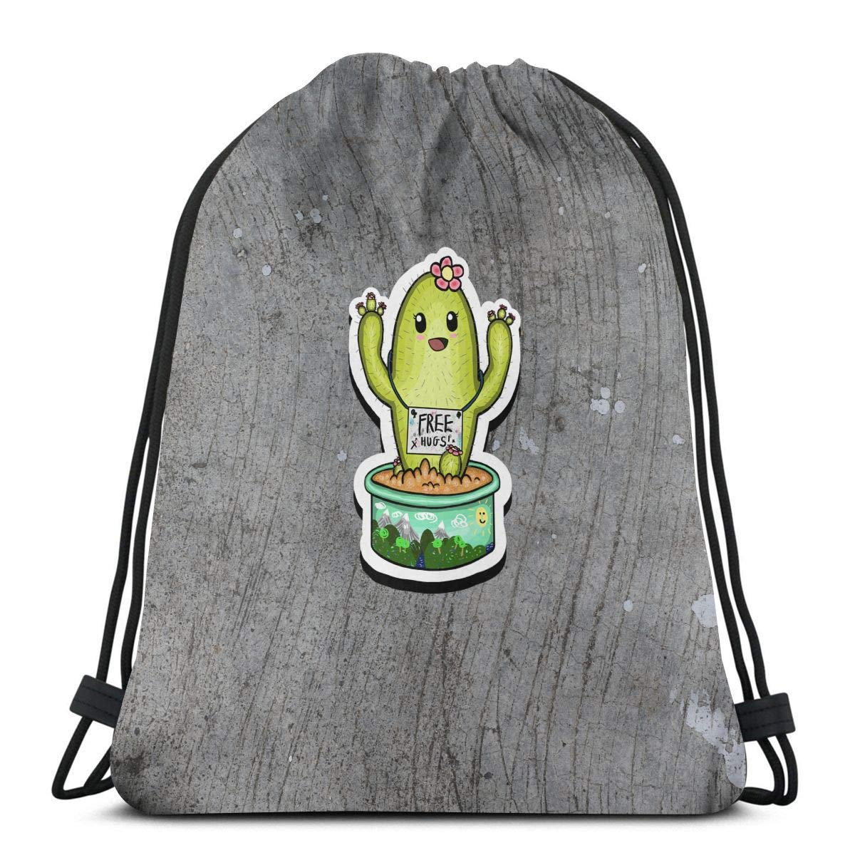 Wangchangjin Drawstring Bags Cactus Free Hugs Sport Gym Tennis Casual Daypack Backpacks Swimming Hiking Yoga Portable Travel for Women and Men