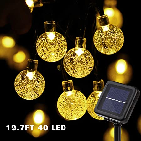 Amazon Com Yunlights Solar String Lights 19 7ft 40 Led Christmas Solar String Lights Waterproof Crystal Ball Fairy Lights For Indoor Outdoor Wedding Patio Lawn Party Home Holiday Decorations Garden Outdoor