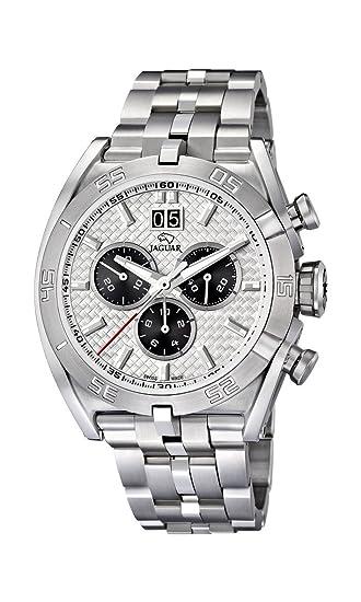 Jaguar Watches J654/1 - Reloj analógico de cuarzo para hombre con correa de acero inoxidable, color plateado: Jaguar: Amazon.es: Relojes