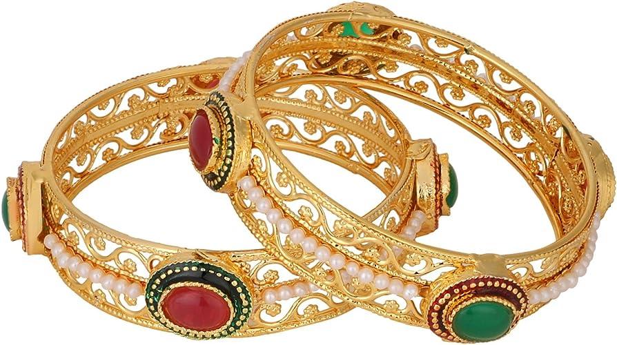 12 Pcs Efulgenz Fashion Jewelry Indian Bollywood Gold Plated Beaded Multicolor Silk Thread Wedding Bridal Bracelet Bangle Set