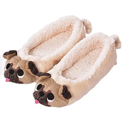GaraTia Women's Plush Winter Warm Animal Soft Cute Home Pug Slippers Dog | Slippers