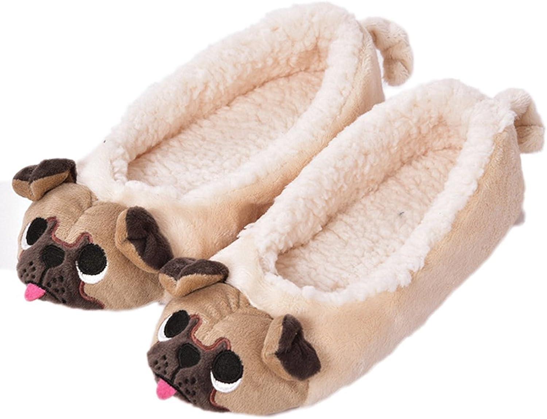 GaraTia Pug Slippers for Women Cute Dog Slippers Socks Warm Animal Soft Plush House Shoes Indoor