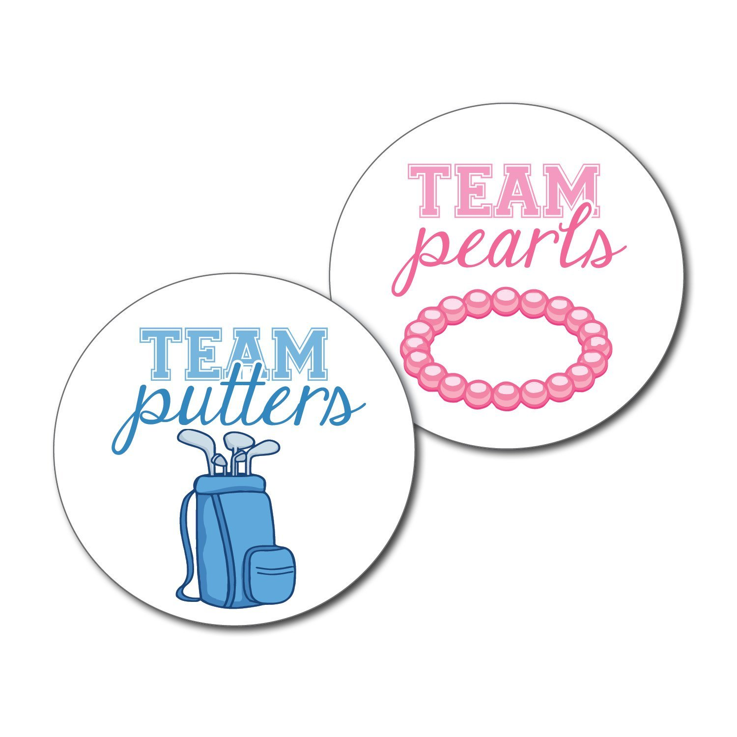 2.5'' Set of 36 Golf Team Putters & Team Pearls Gender Reveal Party Stickers - Pink & Blue, Boy or Girl