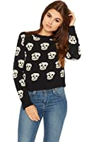 WEARALL Women's Skull Print Knitted Jumper Cropped Long Sleeve Round Neck