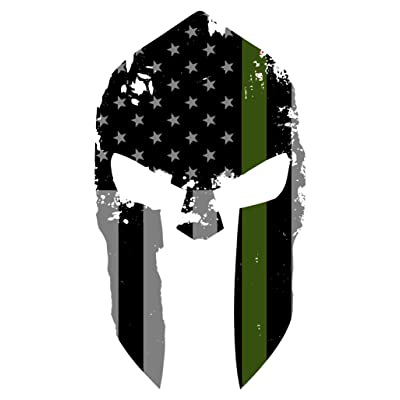 K9King Military Spartan Tattered Thin Green Line Helmet Sticker US Flag Subdued Molon Labe Reflective Decal with Thin Green Line: Automotive