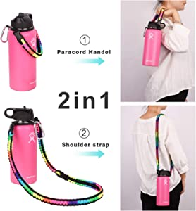Wongeto Paracord Handle Carrier Holder with Shoulder Strap(Fits 12oz - 64oz Hydro Flask Wide Mouth Water Bottles, Nalgene,Nathan,Klean Kanteen, Juglug,etc)