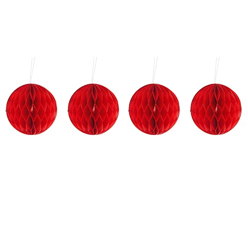 pack of four red 10cm honeycomb retro pom pom paper christmas bauble decorations - Old Fashioned Paper Christmas Decorations