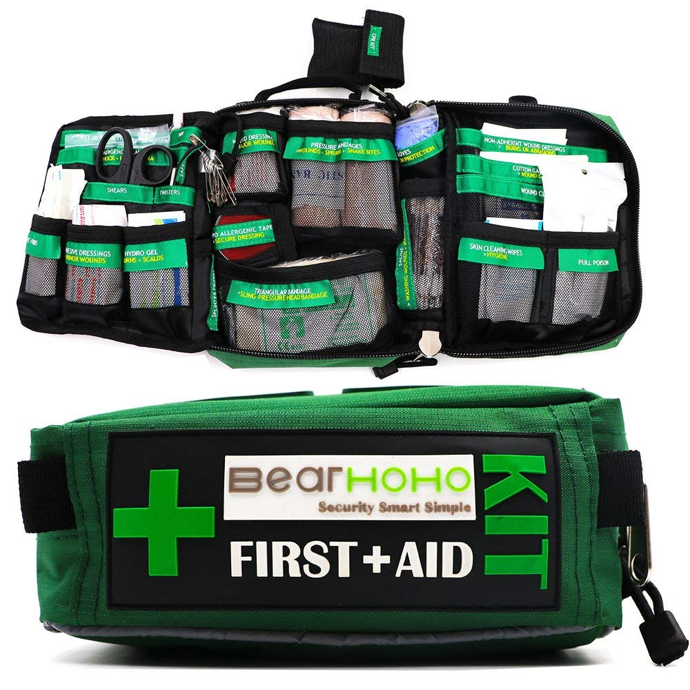 BearHoHo Handy First Aid Kit Bag Lightweight Compact 3 Layers Labelled Component Emergency Medical Rescue Treatment Outdoors Car Luggage School Hiking Survival Bag (Empity Bag) by BearHoHo