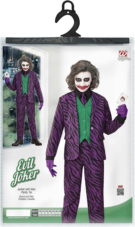 140 cm // 8-10 Anni Widmann-Evil Joker Costume per Bambini Multicolore, 19317