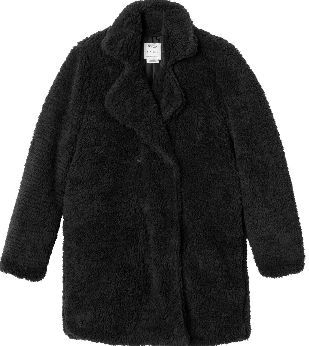 RVCA Junior's Warm Me Up Faux Fur Trench Jacket, Black, X-Small by RVCA