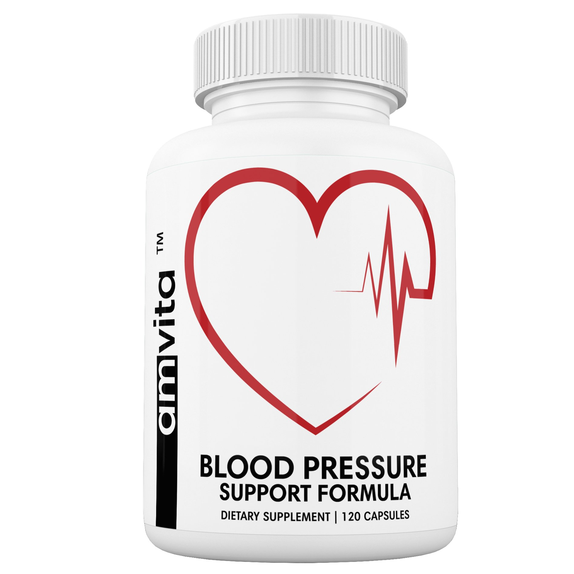 Premium Blood Pressure Support Supplement with Vitamins, Hawthorn, Niacin, Garlic and Hibiscus - Promotes Healthy Blood Pressure - Non-GMO - Made in USA - 120 Capsules