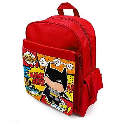 Personalised School Bag Batman Superhero KS108 Girls Boys Backpack Kids  Book Childrens Rucksack - Red  Amazon.co.uk  Luggage