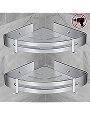 RenFox Bathroom Corner Shelves Bath Shower Caddy Corner Storage Shelf Wall Shower Basket for Shower Kitchen No Drilling Rustproof Space Aluminum Polished (Triangle, 2 Pack)
