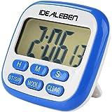 キッチンタイマー Idealeben大画面デジタルタイマー 三つの機能付タイマー 時計付 料理用 壁掛け/スタンド/マグネット付