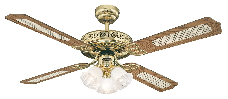 Westinghouse Monarch Trio 7817140 Deckenventilator mit mit mit Beleuchtung, A++ to E,  Metall, 60 W, E14, poliertes messing, 132 x 132 x 43 cm 938d61