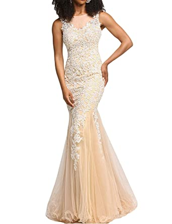 Yiweir Womens Tulle Lace Mermaid Prom Dresses 2018 Long Formal Evening Gown P170 at Amazon Womens Clothing store: