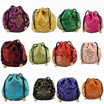 d1f028e0d1d9 Amazon.com: MGQFY 12 pcs Silk Brocade Jewelry Pouch Bag,Chinese Silk ...