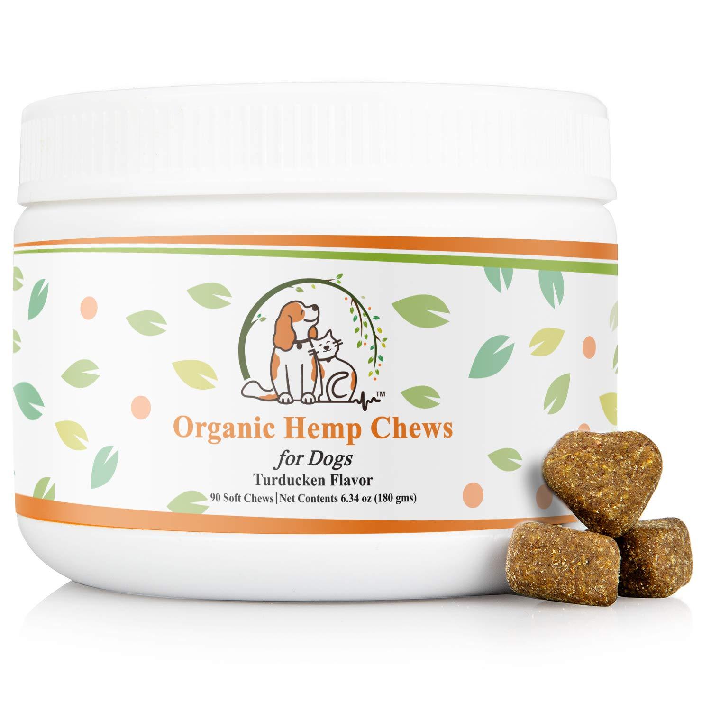 Valerio Organic Dog Hemp Chews 90ct- Dog Anxiety Relief Treat - USDA Organic Hemp Oil, Dog Calming Aid, Dog Chew, Chamomile for Joint Pain & Calming. Turkey, Duck, Chicken Flavor to Keep Your Dog Calm by Valerio