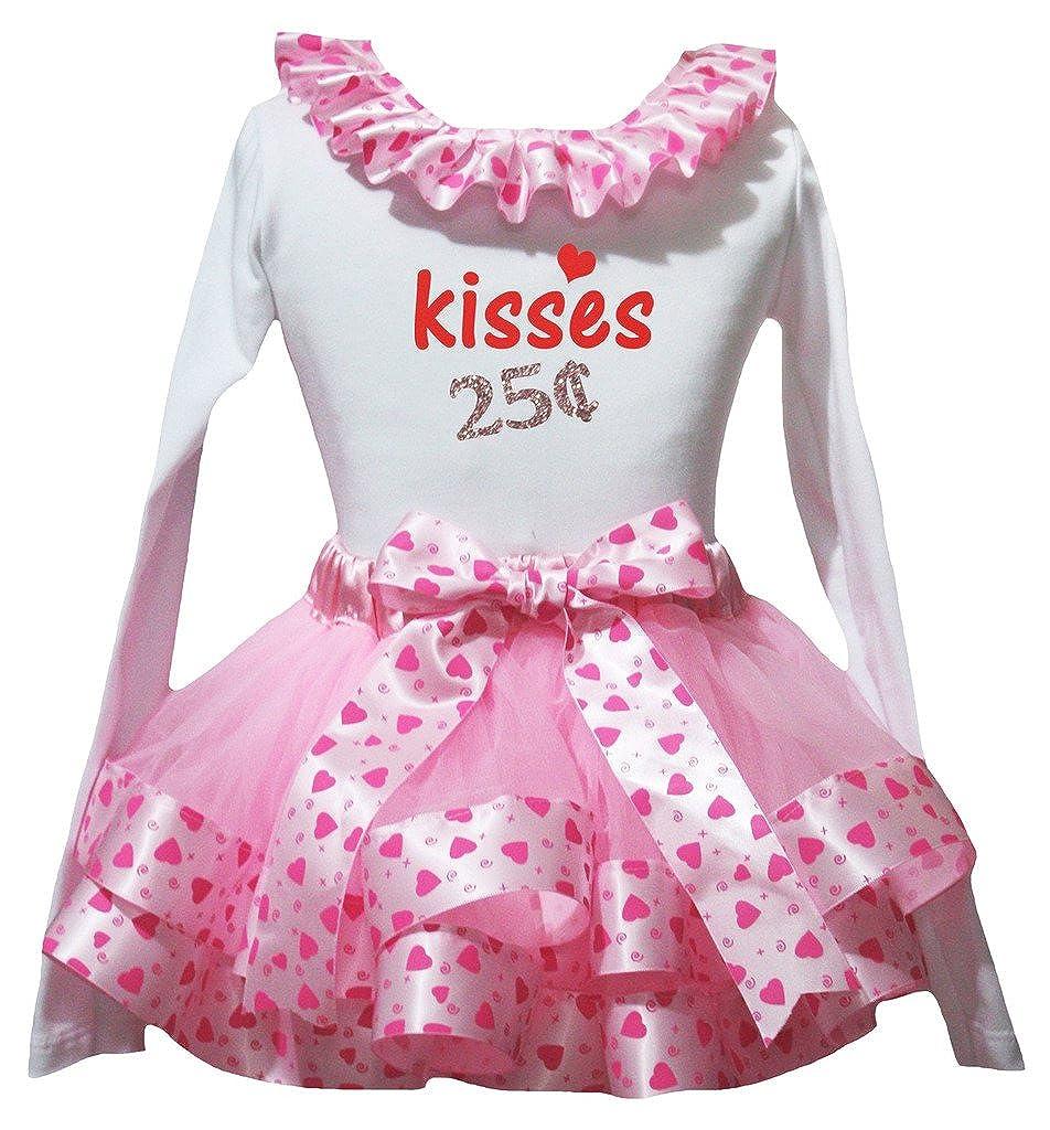 Petitebella Kisses 25b Cents White L//s Shirt Hearts Pink Petal Skirt Set Nb-8y