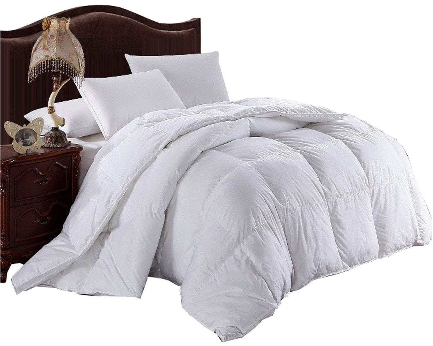 Royal Hotel Goose Feathers and Goose Down Blend Comforter, California King Size, 300 Thread Count 100% Cotton Solid Shell, 600FP, 76 Ounce Fill