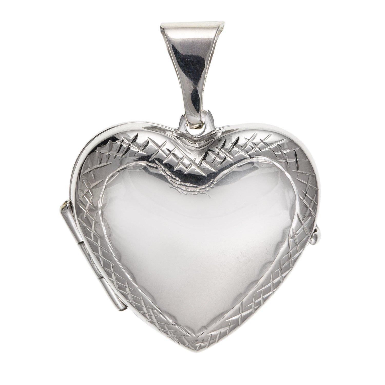 Largeur de 20mm de large Coupe diamant orné Bordure Médaillon cœur–Argent Sterling 925–Livré dans une boîte cadeau gratuit ou sac cadeau M & M Jewellery BU2209ID-LL-LOCK