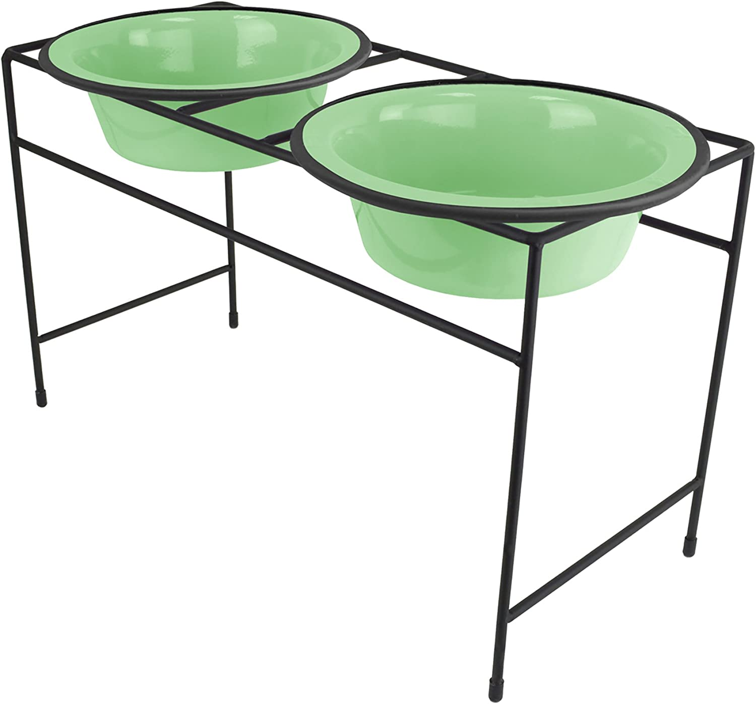 Platinum Pets Modern Double Diner Feeder With Stainless Steel Cat/Dog Bowl, Mint Green, Large