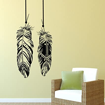 Feathers Wall Decals Tribal Wall Art Boho Bohemian Wall Decor Living