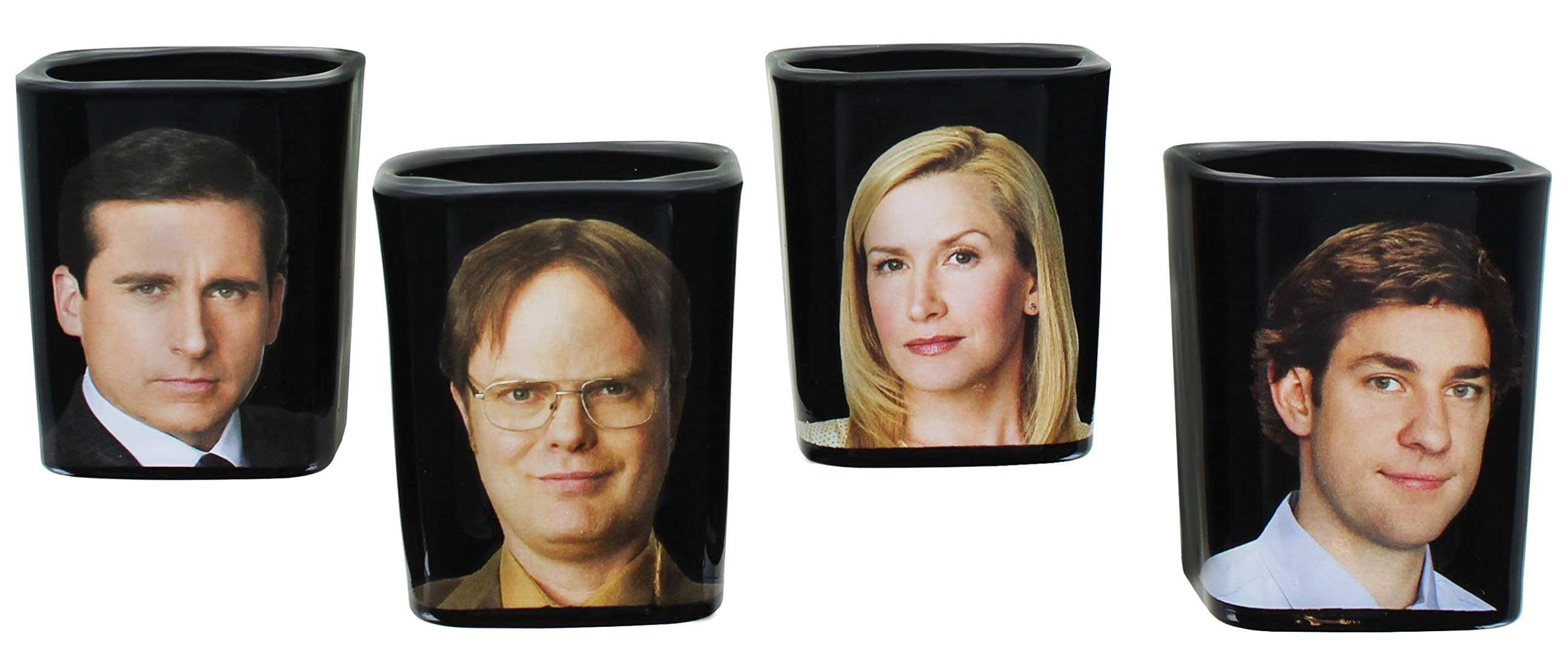 JUST FUNKY The Office Collectible Character Shot Glass Drinking Game | Features Michael, Jim, Dwight, & Angela | 2 Ounce…