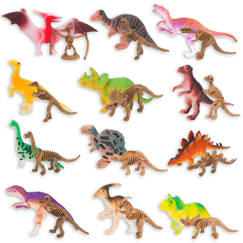 WATINC 64Pcs Kids Dinosaur Toy Kit Medium Realistic Vinyl Assorted Dinosaurs Figures Mini Dino Fossil Skeleton Figurines Kawaii Deco Sticker Jurassic World Party Supplies Miniatures Model Playset