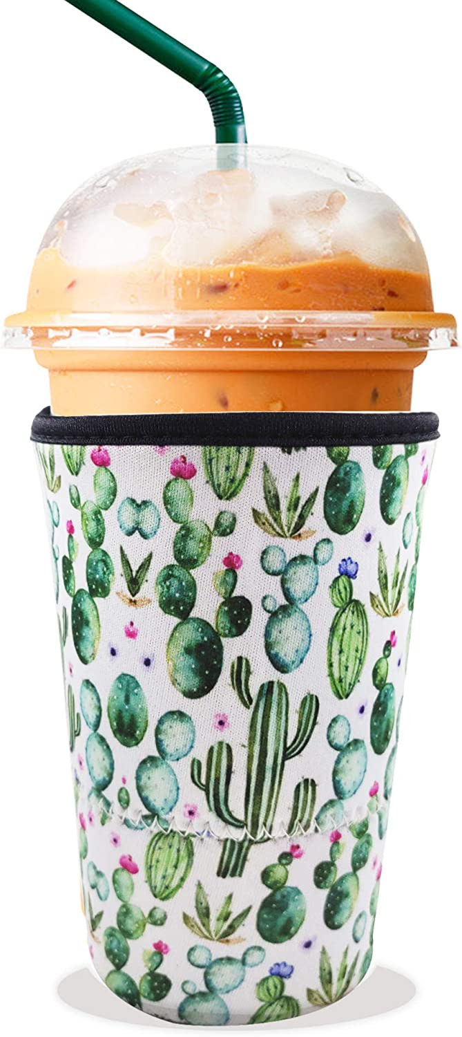 PuFivewr Reusable Iced Coffee Cup Insulator Sleeve for Cold Beverages and Neoprene Holder for Starbucks Coffee, McDonalds, Dunkin Donuts, More (Cactus, 30oz - 32oz)