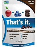 Apple + Blueberry That's It. Fruit Bites | Dark Chocolate Covered Fruit Truffles | 100% Natural Great Tasting Real Fruit | Vegan, Gluten Free, Paleo, Kosher, Non GMO, No Preservatives | 6 Pouches