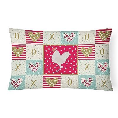 Caroline's Treasures CK5264PW1216 German Langshan Chicken Love Canvas Fabric Decorative Pillow, 12H x16W, Multicolor : Garden & Outdoor