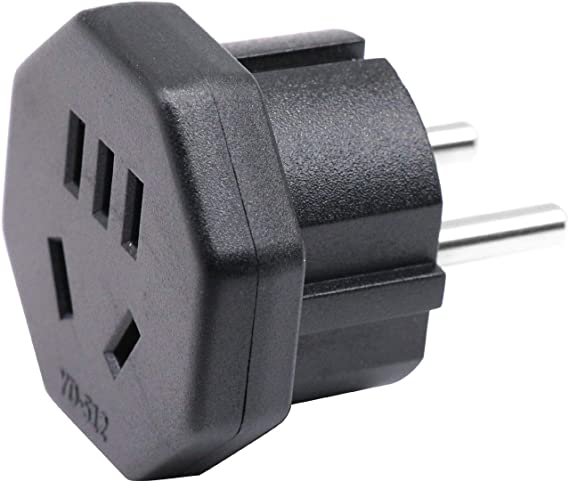 Adaptador de Enchufe de 2 Clavijas EEUU/JP a UE/DE/FR/IT/ES y de Enchufe de 3 Clavijas AU/CN/NZ a Enchufe de 2 Clavijas UE/Alemania con Obturador de Seguridad (1 Pieza Negro): Amazon.es: Electrónica
