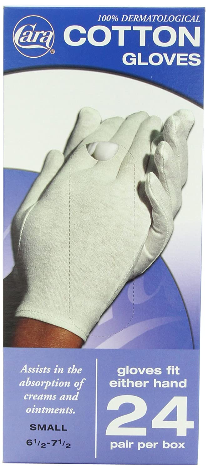 CARA Dermatological Cotton Gloves, Large, 24 Count 038056008305