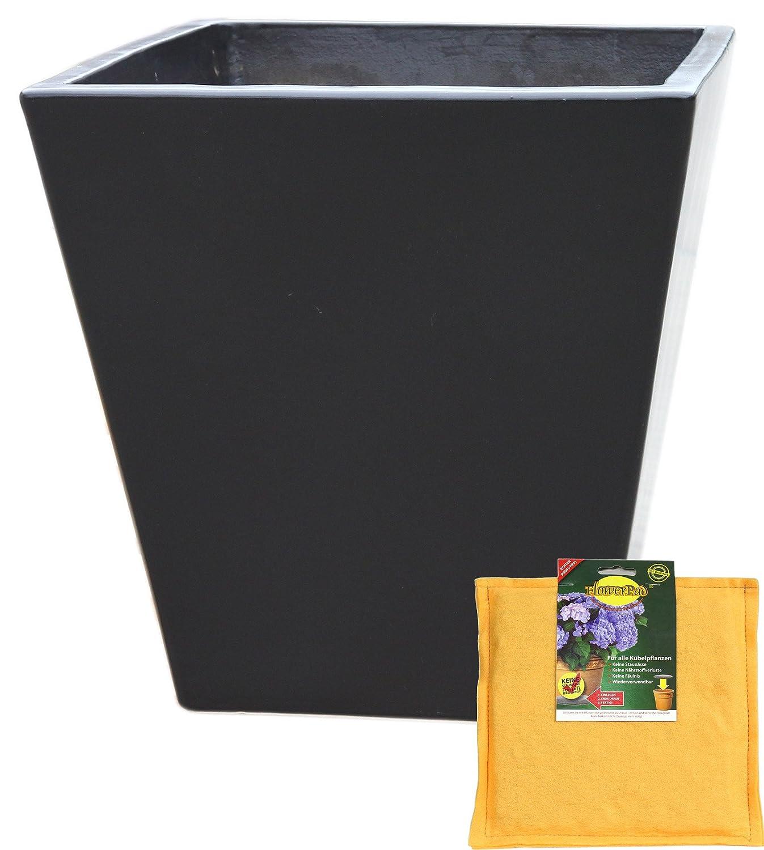 Spar Set: Pflanztopf inclusive FlowerPad Profi Drainage Pflanzkübel eckig frostsicher Größe L 40 x B 40 x H 42 cm, Farbe Anthrazit, Form 242.042.70 Pflanzkübel quadratisch Qualität von Hentschke Keramik